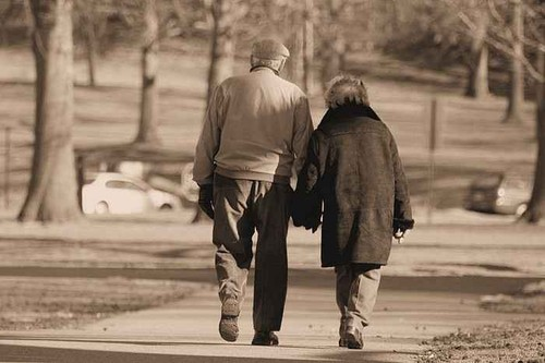love old couple walking